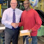 Chris Hillaby with George Henry at his retirement from Shaw Pallet
